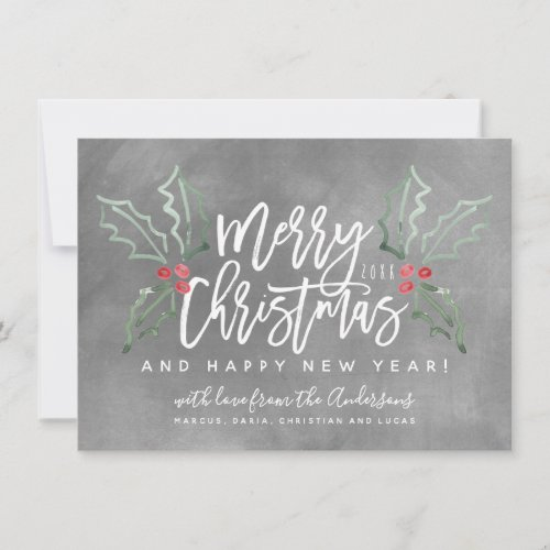 Chalky Brush Script Christmas Hollies Holiday Card