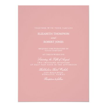 Beach Themed Chalky Pastel Pink Wedding Invitation Set