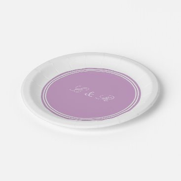 Beach Themed Chalky Pastel Violet Wedding Decoration Set Paper Plate