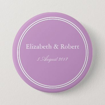 Beach Themed Chalky Pastel Violet Wedding Decoration Set Pinback Button