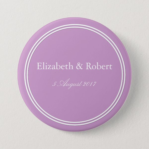 Chalky Pastel Violet Wedding Decoration Set Pinback Button