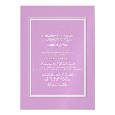 Beach Themed Chalky Pastel Violet Wedding Invitation Set