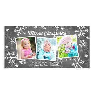 Chalky Snowfall 3 Photo Christmas Card