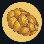"""Challah Bread Braided Loaf Jewish Holiday Hanukkah Classic Round Sticker<br><div class=""""desc"""">Stickers feature an original marker illustration of a loaf of fresh-baked challah bread on a yellow background.  Don't see what you're looking for? Need help with customization? Click """"ask this designer"""" to have something created just for you.</div>"""