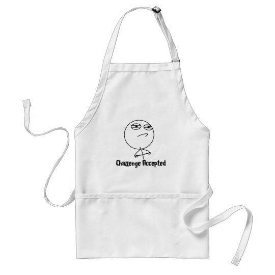 Challenge Accepted Black & White Text Adult Apron