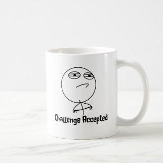 Challenge Accepted Black & White Text Classic White Coffee Mug