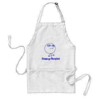 Challenge Accepted Blue & White Text Aprons