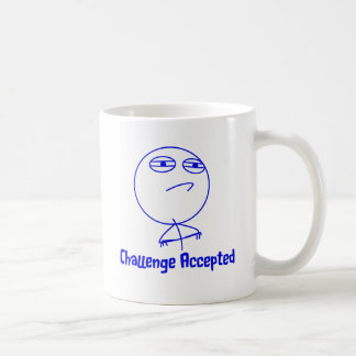 Challenge Accepted Blue & White Text Coffee Mugs