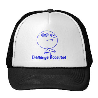 Challenge Accepted Blue & White Text Trucker Hat