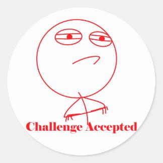 Challenge Accepted! Classic Round Sticker