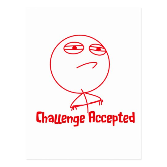 Challenge Accepted (In Red!) Postcard