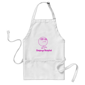 Challenge Accepted Pink & White Text Aprons