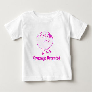 Challenge Accepted Pink & White Text Baby T-Shirt