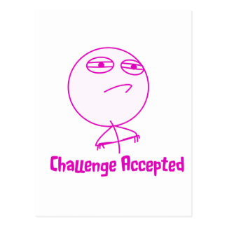 Challenge Accepted Pink & White Text Postcard