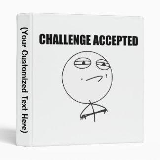 Challenge Accepted Rage Face Comic Meme 3 Ring Binder