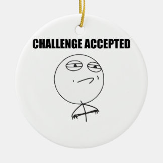 Challenge Accepted Rage Face Comic Meme Christmas Tree Ornament