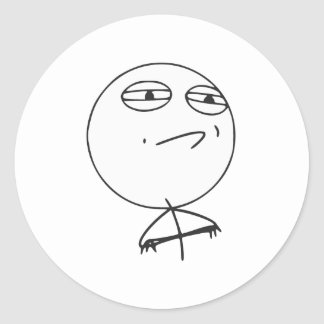 Challenge Accepted Rage Face Comic Meme Classic Round Sticker