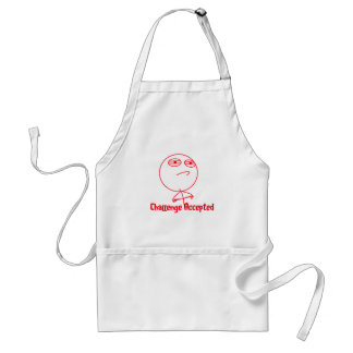 Challenge Accepted Red & White Text Apron
