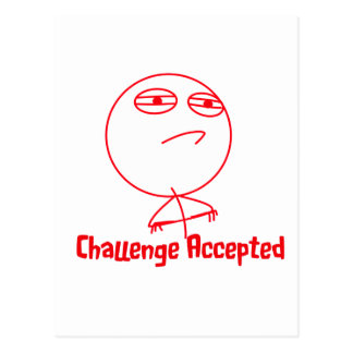 Challenge Accepted Red & White Text Postcard