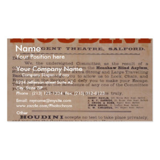 Challenge to Houdini Vintage Theater Double-Sided Standard Business Cards (Pack Of 100)