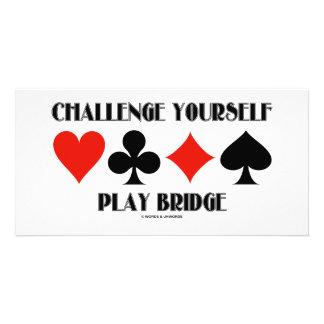 Challenge Yourself Play Bridge Photo Card Template