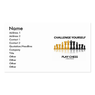 Challenge Yourself Play Chess (Chess Attitude) Double-Sided Standard Business Cards (Pack Of 100)