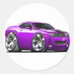 Challenger Purple Car Round Sticker