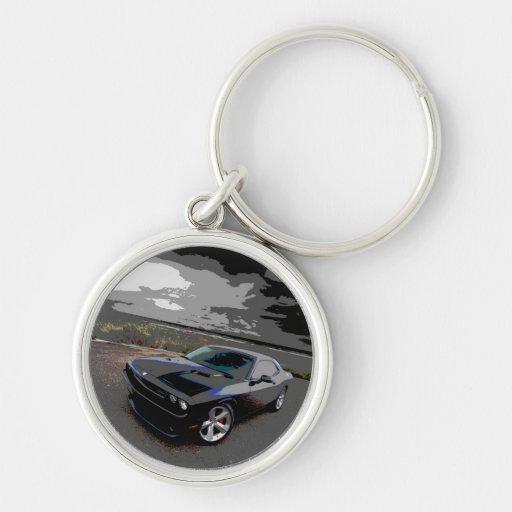 Challenger srt8 Silver-Colored round keychain