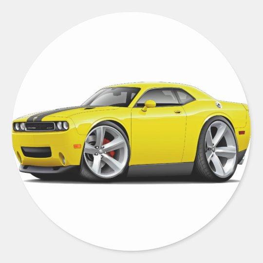 Challenger SRT8 Yellow-Black Car Classic Round Sticker