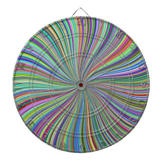 Challenging Colorful Ribbon Swirl Optical Illusion Dart Board