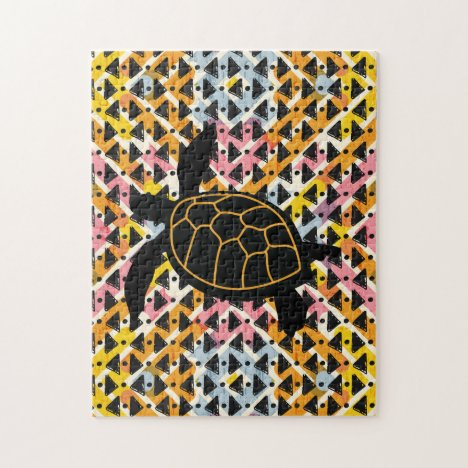 Challenging design a turtle on colorful background jigsaw puzzle