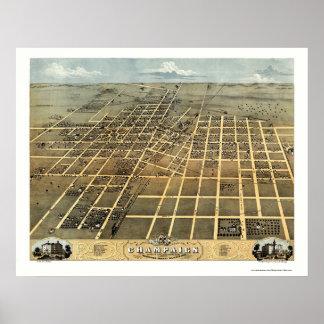 Chamán, mapa panorámico de IL - 1869 Posters