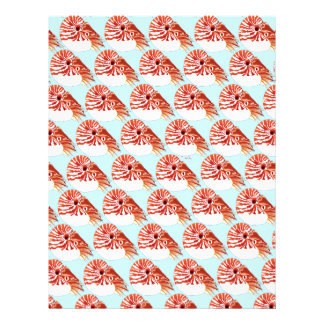 Chambered nautilus Pattern in blue Letterhead
