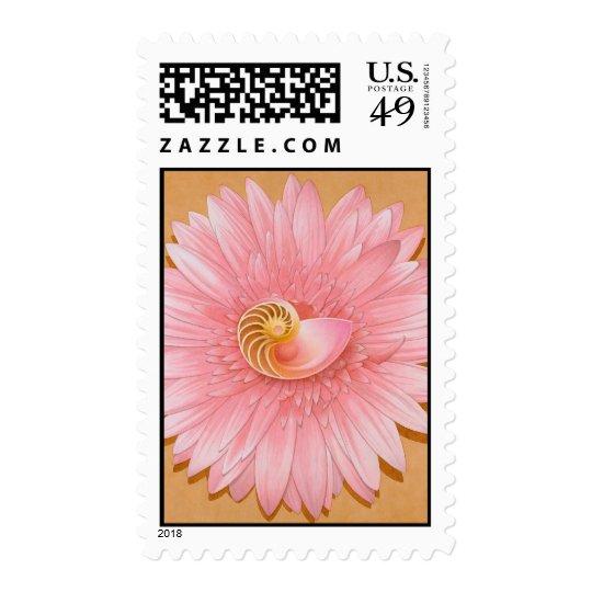 Chambered Nautilus & Pink Flower Postage