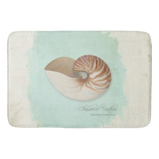 Chambered Nautilus Shell Ocean Seashore Beach Bathroom Mat