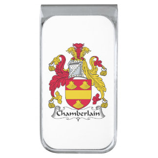 Chamberlain Family Crest Silver Finish Money Clip