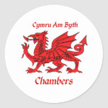 Chambers Welsh Dragon Round Stickers