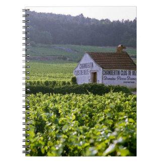 Chambertin Clos de Beze Grand Cru vineyard with Spiral Notebook