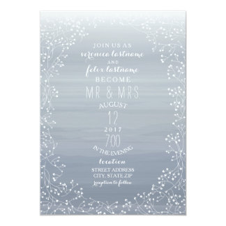 Chambray Watercolor Inspired Baby's Breath Wedding Card