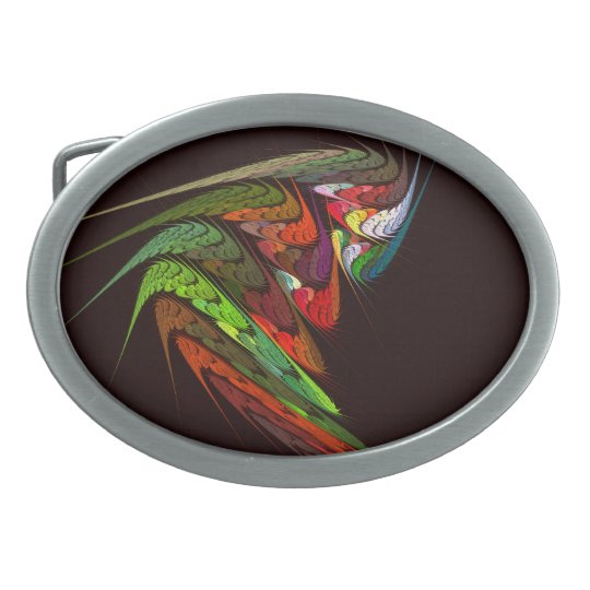 Chameleon Abstract Art Oval Belt Buckle