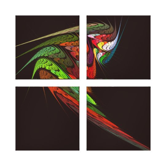 Chameleon Abstract Art Quad Canvas Print