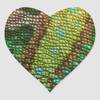 CHAMELEON FAUX SKIN TEXTURE HEART STICKERS