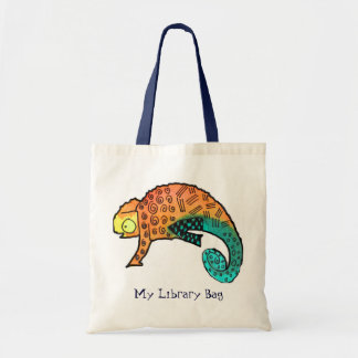 Chameleon ink reptile cute kids library bag