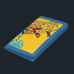 """Chameleon ink Yellow kid&#39;s wallet<br><div class=""""desc"""">Perfect for a kid&#39;s wallet with original illustration design from watercolour and ink by artist Sacha Grossel of yellow,  brown and blue chameleon against mustard yellow background. This quirky and special reptile is cute and bright. For lizard and reptile lovers everywhere.</div>"""