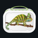 """Chameleon Lunch Box<br><div class=""""desc"""">Vivid and brightly colored photograph of a grumpy looking Chameleon.</div>"""