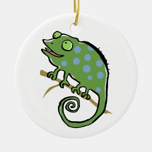 chameleon on a twig ceramic ornament