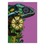 chameleon orchid greeting card