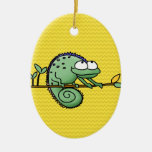 Chameleon Double-Sided Oval Ceramic Christmas Ornament