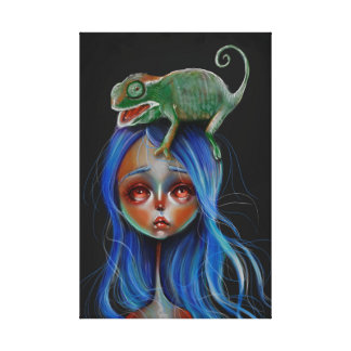 Chameleon Pop Surrealism Big Eyed Girl Canvas Art