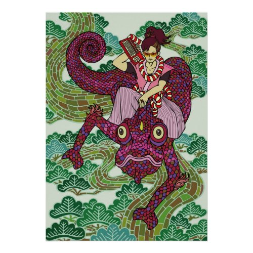 Chameleon, Poster, chameleon, poster, digital, pine, tree, kimono, Pine, valencia, toluca, ottawa, otaku, manga, samurai, pop, japan, japanese, art, illustration, tokyo, edo, akihabara, Edo, Japan, Japanese style, Illustration, Pop